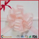 Pink Polka DOT POM-POM Pull Bow pour décoration de Noël