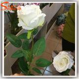 Decoración de diseño distintivo PU flor artificial de seda rosa
