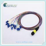 12 vezel MPO aan Koord van het Flard van de Vezel LC het Optische, de Enige Assemblage van de Kabel van de Doorbraak van de Wijze OS2