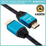 Cable plateado Gloden de alta velocidad 1.4/2.0V de 24k HDMI con Ethernet para la TVAD