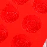 15cav. Il fiore della Rosa ha modellato lo strato della torta del silicone del commestibile