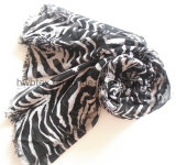 Classique Zebra Printing Thin Polyester Beach Pareo / Lady Scarf (HWBPS005)