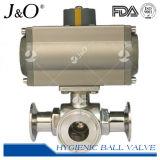 Válvula de esfera sanitária da maneira da braçadeira 3 do aço inoxidável do comentário elevado