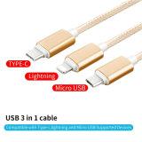 Kabel van de nylon LEIDENE Lader van 3 in-1 Usb- Gegevens voor Androïde iPhone