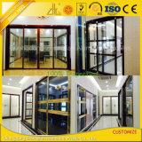 Пестротканый анодированный алюминиевый алюминий раздвижной двери для нутряных живущий комнат