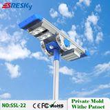 Nuevo producto 20W todo en una luz de calle solar con la función estable