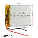 3.7V 900mAh 603443 IonenBatterij van Li van Li-Po van het Polymeer van het Lithium de Navulbare voor MP3 MP4 MP5 Mobiel Elektronisch Deel