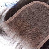 Chiusura del merletto dei capelli umani 4X4 libera/parte centrale del merletto della chiusura del Virgin delle chiusure peruviane diritte dei capelli umani