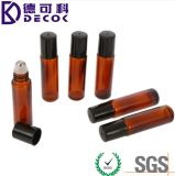 frascos de vidro ambarinos do rolo do petróleo essencial de 10ml Brown com as esferas de rolo do aço inoxidável para perfumes e bálsamos de bordo, frascos de vidro do rolo