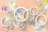 白い花および円デザイン3Dはホームのための油絵を防水する