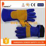 De gele Versterkte Blauwe Werkende Handschoenen van het Werk van het Lassen van de Lasser van het Leer van de Koe Plam