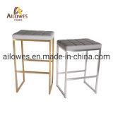 Living Room Bar Cinzento mobiliário PU Seat dourado champanhe de aço inoxidável para os pés Banqueta