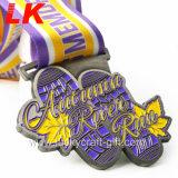 Fournisseur en gros cadeau de promotion d'usine le prix de l'artisanat en métal Custom Designs Moulage en alliage de zinc de l'or Marathon Race Sport Award du module de finition de médailles fait de la Chine