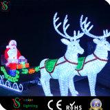حديقة خارجيّة [لد] [سنتا] كلاوس مع [ريند] حصان حجر السّامة عربة حمّالة عيد ميلاد المسيح