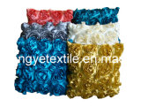 100 % polyester broderie Satin Rose coussin de volant