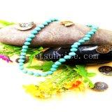 De Natuurlijke Turkooise Halsband van de manier met Groene Ronde Parels
