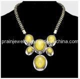 Estilo veraniego Collar Natural /chapado de aleación de zinc en forma de corazón de oro colgante, collar de Jade de color amarillo oro collares de bisutería (PN-111)
