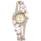 유행과 간단한 호화스러운 석영 합금에 의하여 다이아몬드 껍질로 덮이는 꽃 팔찌 손목 시계