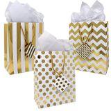 Bolsos metálicos del regalo del oro, cumpleaños, graduación, fiesta de bienvenida al bebé, bolsos del regalo de boda, bolsa de papel