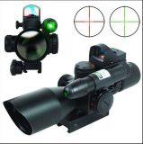 2.5-10X40 táctico del alcance del rifle W / láser verde y Mini Reflex 3 Moa Red Dot Sight