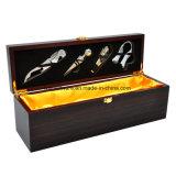 Коробка подарка представления хранения вина штейновой отделки чёрного дерева деревянная с инструментами