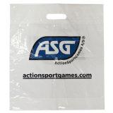 Las bolsas de plástico impresas reciclables de la maneta del orificio de la bolsa para la materia textil (FLD-8552)