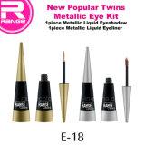 Nova tendência gêmeos Kit anel metálico, com base água nova Poplular Eyeshadow Líquido e cintilantes Eyeliner Kit, Kit de maquiagem Design de Embalagens de gêmeos