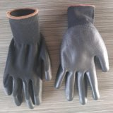 13 gants enduits de sûreté d'unité centrale de polyester de mesure de noir noir de doublure