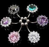 De Koreaanse Juwelen van de Manier van de Steen van CZ van het Titanium van de Manier Zilver Geplateerde Doordringende