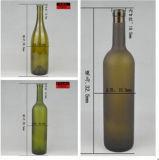Runde Form 750ml grünes oder freies Bordeaux-Glaswein-Flaschen-betriebsbereite Aktien