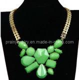 La primavera de Bisutería Necklace/ 2013 resina verde Estrás ajustable de Material de aleación de zinc chapado en la cadena de oro que son el medio ambiente