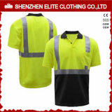 Livro verde fluorescente de alta qualidade do trabalho de manga curta camisas polo (ELTSPSI-17)
