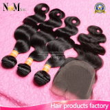 閉鎖の閉鎖の束が付いている閉鎖のFacebeautyの毛を搭載するブラジルの毛の織り方の束が付いているブラジルのバージンの毛ボディ波
