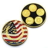 Progettare la moneta per il cliente di doppio oro di marchio della bandierina degli Stati Uniti