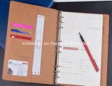 2017年のノートのカスタム革ハードカバーのノート