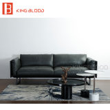 Sofa moderne de cuir véritable de l'Italie Nappa de couleur grise pour des meubles de salle de séjour