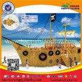 Equipamento ao ar livre plástico ou de madeira do campo de jogos dos miúdos do navio de pirata