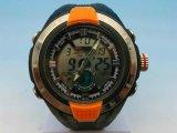 Vigilanza impermeabile del signore del cronografo del movimento svizzero dell'elastico della custodia in plastica