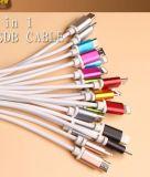 La fábrica 2 en 1 cable del USB para el tipo micro C del IOS, la carga de múltiples funciones 2 telefona una vez