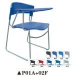 Conferencia de plástico suave cojín de silla con panel de escritura y librería