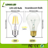 E27 2W-8W Dimmable Filament Lâmpada LED com Ce RoHS