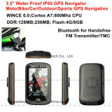 "Nouveau 3.5 ""320 * 480 capacitif Touch WiFi Waterproof IP65 moto Bike Car Portable GPS Navigator avec Wince 6.0, Cortex-A7, processeur 800MHz, Bluetooth Set"