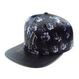 Capa de couro PU Preto personalizado Snapback Hat com logotipo Bordado 3D