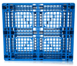 A grade plástica da bandeja do HDPE dos produtos 1100*1100*150mm do armazém enfrentou a pálete 4t plástica resistente de estática para o armazenamento (ZG-1111B)