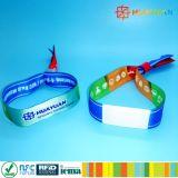Wristband tecido da tela RFID do festival de música NTAG213 o bolso o mais novo