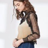 Blusa de dos piezas falsa del acoplamiento atractivo del bordado de la manera de las señoras