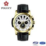 Custom Cronógrafo relógio de pulso banhados a ouro para homens
