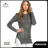 Chandail de cavalier de Knit du câble des femmes gris avec la tirette