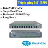 FTTH Olt para la solución del P2p con la sola fibra de la fibra dual