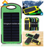 5000mAh Dual-USB Waterproof Solar Power Bank Carregador de bateria para celular